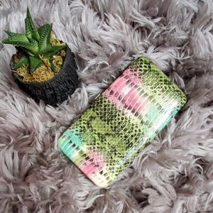 Multicolored faux snake embossed hardcover wallet